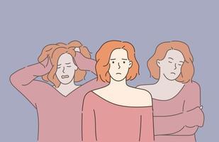 conceito de esquizofrenia e transtorno mental jovem bela mulher triste sofrendo de transtornos de personalidade múltiplos transtorno dissociativo de identidade vetor
