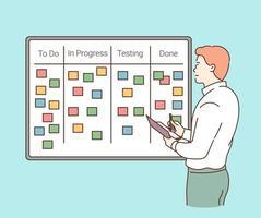 conceito de gerenciamento de projeto de planejamento de estratégia de negócios homem feliz em espera, organizar agenda, ilustração vetorial plana vetor