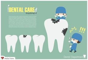 dentista segura a lupa e procura cárie dentária e se assusta porque é grande design plano de vetor de cavidade dentária