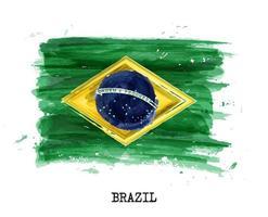 vetor da bandeira do brasil pintura em aquarela