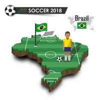 jogador de futebol da seleção nacional de futebol do brasil e bandeira no mapa do país de design 3d isolado vetor de fundo para o conceito de torneio do campeonato mundial internacional 2018