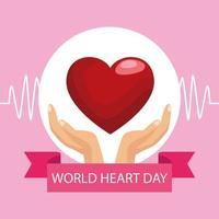 letras do dia mundial do coração com as mãos protegendo o coração e a moldura da fita vetor