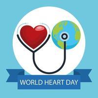 letras do dia mundial do coração com estetoscópio e planeta Terra vetor