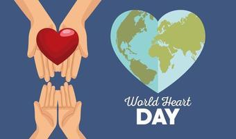 letras do dia mundial do coração com as mãos levantando a terra coraçõesaphed vetor
