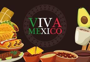 letras de viva mexico e pôster de comida mexicana com as cores das bandeiras vetor