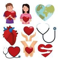 conjunto de ícones do dia mundial do coração vetor