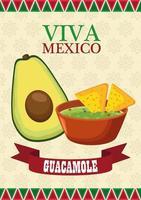 letras de viva mexico e pôster de comida mexicana com abacate e guacamole vetor