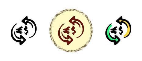 contorno, cor e símbolos retrô da circulação de dinheiro do dólar e do euro vetor