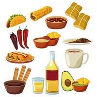 conjunto de ícones de menu de comida mexicana vetor