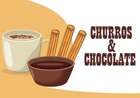 comida deliciosa de churros e chocolate vetor