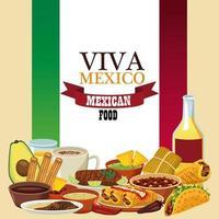 letras de viva mexico e pôster de comida mexicana com tequila e menu na bandeira vetor