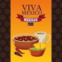 letras de viva mexico e pôster de comida mexicana com feijão frito e nachos vetor