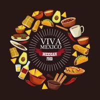 letras de viva mexico e pôster de comida mexicana com menu ao redor vetor