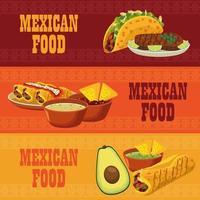 cartazes de comida mexicana com menus fixos vetor