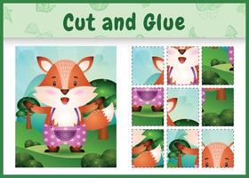 jogo de tabuleiro infantil recortado e colado com uma raposa fofa usando calças vetor