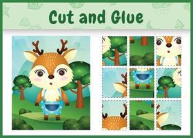 jogo de tabuleiro infantil recortado e colado com um cervo fofo usando calças vetor
