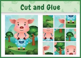 jogo de tabuleiro infantil recortado e colado com um porco fofo usando calças vetor
