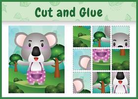jogo de tabuleiro infantil recortado e colado com um coala fofo usando calças vetor