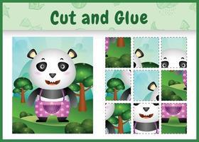 jogo de tabuleiro infantil recortado e colado com um panda fofo usando calças vetor