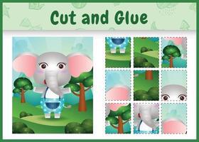 jogo de tabuleiro infantil recortado e colado com um elefante fofo usando calças vetor