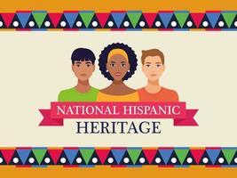 letras de celebração do patrimônio hispânico nacional com pessoas e moldura de fita vetor