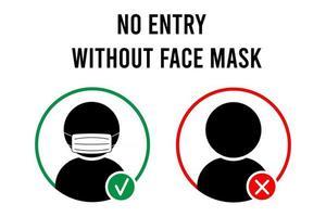 nenhuma entrada sem sinal de máscara facial sem máscara facial nenhum ícone de entrada sinal de aviso vetor