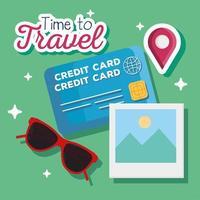 tempo de viajar óculos, cartão de crédito e desenho vetorial de imagens vetor