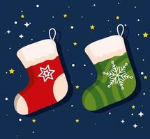 estandarte de meias de natal de ano novo e celebração de feliz natal vetor