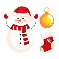 boneco de neve de natal com banner de decoração de meia e bola de celebração de ano novo e feliz natal vetor