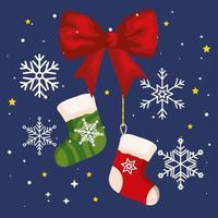 meias de natal com fita de arco e faixa de flocos de neve de celebração de ano novo e feliz natal vetor