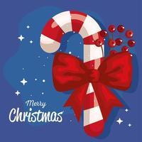 bastão de doces de natal com faixa de fita de arco de ano novo e celebração de feliz natal vetor