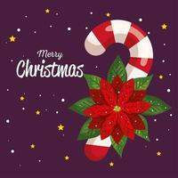 bastão de doces de natal com banner de decoração de flores de ano novo e celebração de feliz natal vetor