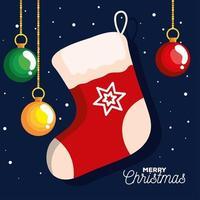 meia de natal com bolas penduradas banner de ano novo e celebração de feliz natal vetor