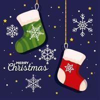 meias de natal com banner de decoração de flocos de neve de ano novo e celebração de feliz natal vetor