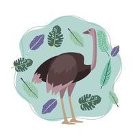 animal avestruz selvagem com cena da natureza de folhas vetor