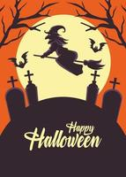 cartão de feliz dia das bruxas com bruxa voando em vassoura sobre o cemitério vetor