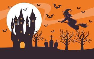 cartão de feliz dia das bruxas com bruxa voando na vassoura e castelo vetor
