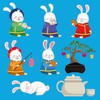 cartão de celebração do meio do outono com coelhos e ícones de bonsai vetor