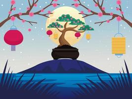 cartão de comemoração do meio do outono com bonito bonsai e cena de lua cheia vetor