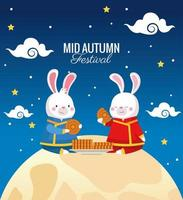 cartão do meio do outono com casal de coelhos em cena de lua cheia vetor
