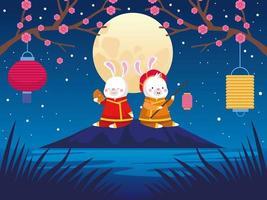 cartão de celebração do meio do outono com casal de coelhos e cena de lua cheia vetor