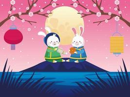 cartão de celebração do meio do outono com casal de coelhos e lua cheia vetor