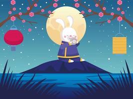 cartão de celebração do meio do outono com cena de coelho e lua cheia vetor