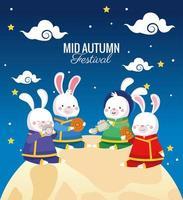 cartão de celebração do meio do outono com coelhos em cena de lua cheia vetor