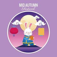 cartão do meio do outono com cena de coelho e lua cheia vetor