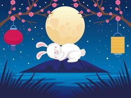 cartão de celebração do meio do outono com coelho e lua cheia vetor