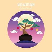 cartão de celebração do meio do outono com bonsai fofos e lua cheia vetor