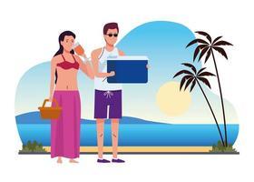 jovem casal vestindo maiôs com coquetel e geladeira na praia vetor