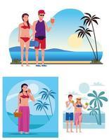 jovens vestindo maiôs nas cenas da praia vetor