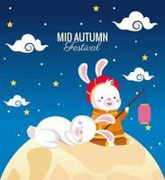 cartão de celebração do meio do outono com casal de coelhos em lua cheia vetor